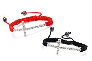 Authentic Diamond Color Crystals Shimmering Cross 2 Adjustable Bracelets Color of the Thread Black and Red , Now At Our Lowest Price Ever but Only for a Limited Time!