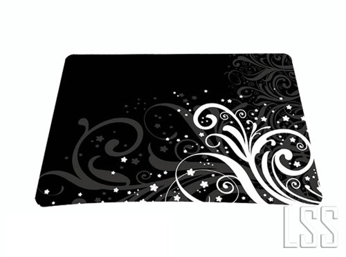 1-X-Standard-7-x-9-Inch-Mouse-Pad-Black-and-White-Floral
