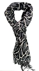 "Dk Brown//Gray Stunning Handmade 24/""x78/"" 2-Ply 100/% Cashmere LEOPARD Scarf Wrap"
