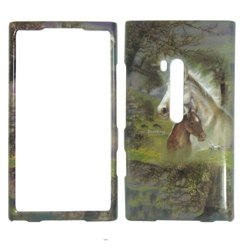 NOKIA LUMIA 900 AT&T - Horses & Trees Colorful Painting Hard Plastic Cover,Case, Face cover, Protector