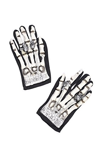 [Adult Skeleton Gloves Halloween Accessory Death Grim Reaper Dress Up & Role Play (One Size - Fits All, black,] (Jack White Halloween Costume)