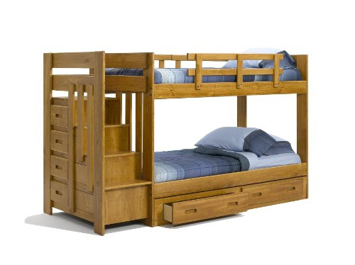 Solid Wood Reversible Stairway Twin Twin Bunk Bed W