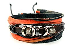 Streetsoul Studs Black Leather Metal Wrist Band For Men.