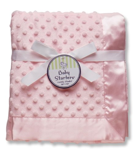 Baby Starters Textured Dot Blanket with Satin Trim, Pink