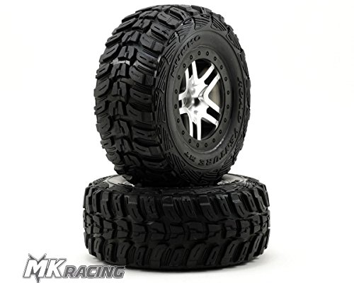 traxxas-6874-sct-kumho-tires-pre-glued-on-split-spoke-satin-chrome-black-beadlock-style-wheels-pair