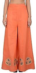 Simple Kaur Women's Silk Ethnic Bottom (simplekaur_0029--M, Orange, Medium)
