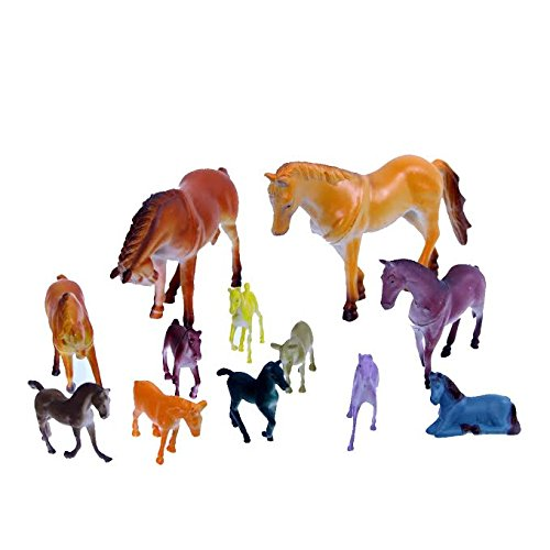 Dazzling Toys 12 Pack Plastic Horse Figures - 1