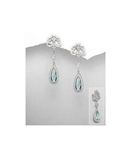 Sterling Silver Rhodium-plated with Zirconia 925/1000 Blue