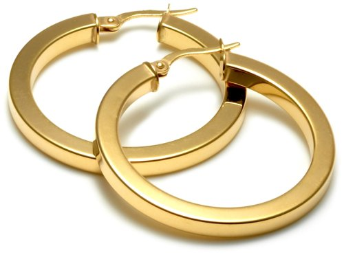9ct Yellow Gold 25mm Square Tube Creole Earrings