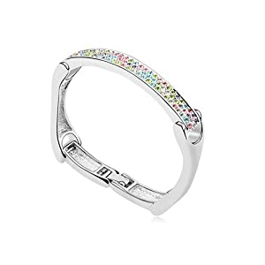 Silver Swarovski Elements Crystal Diamond Accent Love Forever Bracelet for women teenage girls, with a Gift Box, Ideal Gift for Birthdays / Christmas / Wedding--Multicolor, Model: X15441