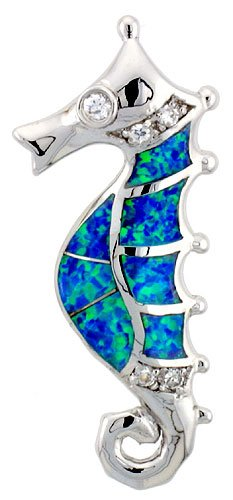 Sterling Silver Seahorse Pendant, Synthetic Opal Inlay & CZ stones, 1 1/4 inch (31 mm) Tall