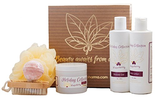 Bath Gift Sets For Women 6-Piece Winterberry Collection With Body Lotion, Shower Gel, Sugar Scrub, Loofah Bath Sponge, Bath Bomb, and Scrub Brush