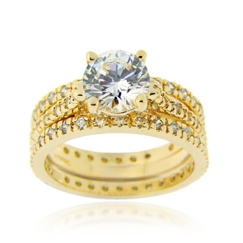 18K Gold over Sterling Silver Round CZ Wedding Engagement Ring Set