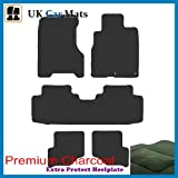 Premier Products luxury quality mats in graphite to fit Honda Stream (2000-) with 2 Eyelets clips in carpet and Silver-Grey-Stripe trim around edge of carpet