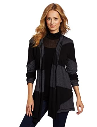 allen allen Women's Hooded Patchwork Jacket, Black, Medium