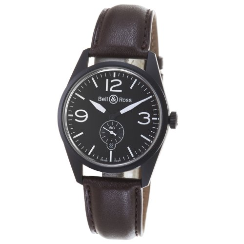 Bell & Ross Men's BR123-ORIGINAL CARBON Vintage Black Dial and Brown Strap Watch