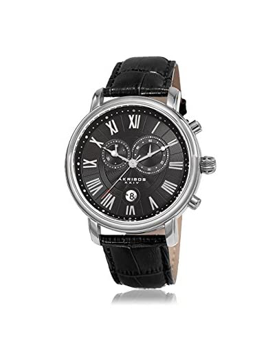 Akribos XXIV Men's AK841SSB Silver-Tone Black Leather Watch