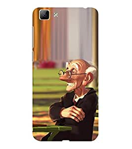ifasho Old man playing chess animated design Back Case Cover for VIVO Y35