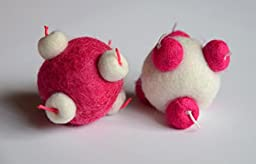 Two Sputnik Inspired Hot Pink/White Catnip Scented Wool Balls