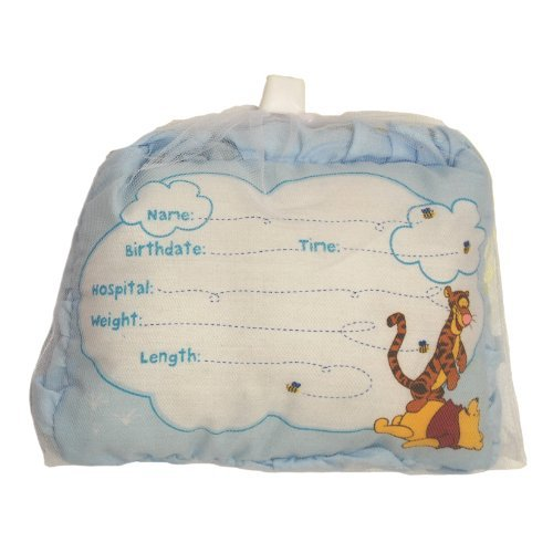 Disney Winnie the Pooh Birth Announcement Pillow with Pen, Boys or Girls (BLUE)