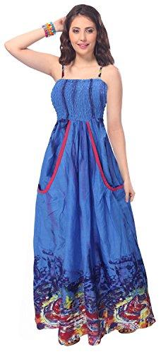 La Leela Cotton Allover Printed Smocked Backless Strap Long Tube Dress Blue