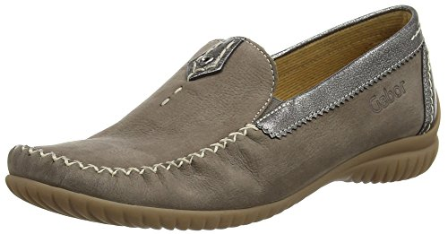 GaborCalifornia - Mocassini donna, Grigio (Grey (Grey Nubuck/Grey Metallic Leather)), 39 EU (6 UK)