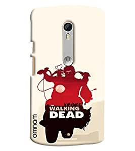 Omnam Boy Riding Bike With The Walking Dead Wriiten Designer Printed Back Cover Case For Motorola Moto X Style