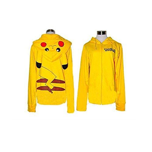 CozyCorner Unisex Pikachu Cartoon Zip Hoodies Sweatshirt Slim Fit Cosplay Costume