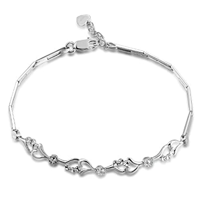 """14ct White Gold Connected Hearts With Diamond-Cut Bracelet (6.5"""") Jewellery Gift"""
