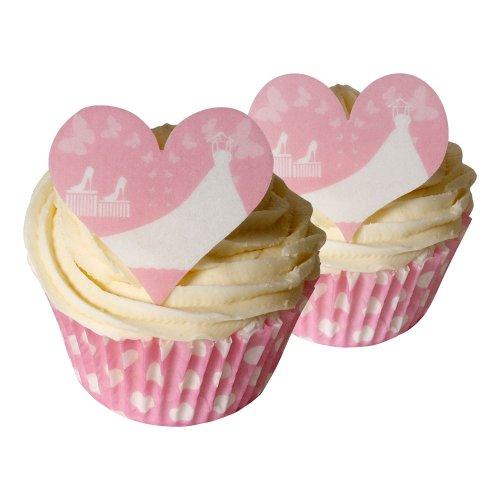 12 White Wedding Dress Heart Edible Cake Decorations