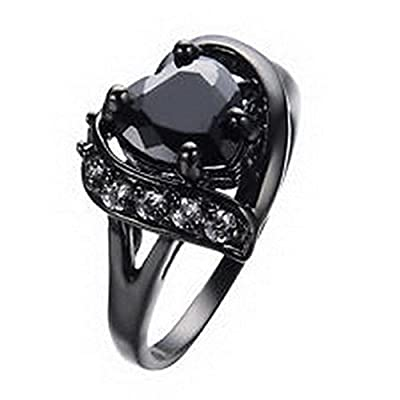 Black Promise Anniversary Ring Cubic Zirconia Heart Cut Gem Jewelry Women/Mens