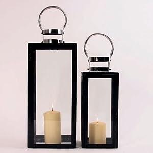 laterne innsbruck set 2 metall edelstahl schwarz garten. Black Bedroom Furniture Sets. Home Design Ideas