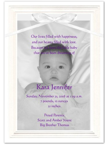 Embossed Border Photo Birth Announcements - Set Of 20 front-993124