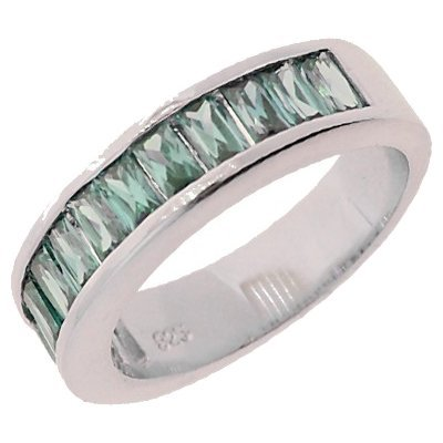 Sterling Silver Blue Cubic Zirconia Half Eternity Wedding Band Ring - Size 9