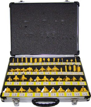 "50pc Carbide Tipped 1/4"" Shank Router Bit Set"