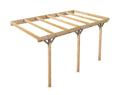 Holz Carport Flachdach Massivholz KVH für Wandanbau 3000x5000 mm