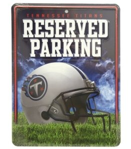 Tennessee Titans Metal Parking Sign by Hall of Fame Memorabilia