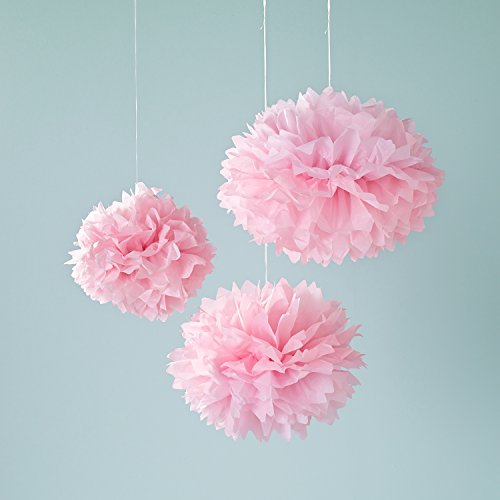 3er set seidenpapier pompoms rosa lights4fun. Black Bedroom Furniture Sets. Home Design Ideas
