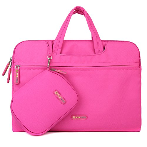 Evecase 13.3 - 14 Inch Dual Layer Protection Tablet /Laptop Universal Sleeve Bag Carrying Case Briefcase With Handle With Pouch Case And Mouse Pad - Hot Pink
