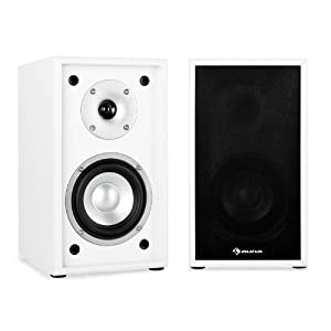 auna Line 300-SF-WH Passive Hifi Bookshelf Speakers (2 x 35W RMS, Low Res Wood Cabinet & Gold Plated Speaker Connections) - White/Black