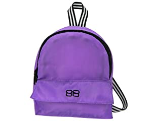 18 Inch Doll Backpack, Doll Size for 18 Inch Doll Accessories and American Girl Dolls in Purple Nylon, Zippered Opening and Pocket in Purple
