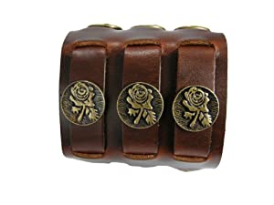 BrownBeans, Flower Decor, Brown, Quality Men's Leather Buckles Wristband Bracelet (LBCT11005)