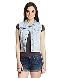 Only Women's Cotton Blouson Waistcoat (15101703_ Light Blue Denim_42)