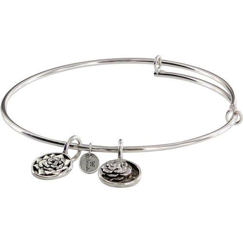 Chrysalis Expandable, Adjustable, Bangle, Bracelet. Roses Flower Charm Tags