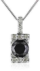 10k White Gold 1 CTTW Black and White Diamond Pendant Necklace, 18