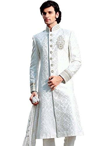 Wedding Wear Off White Sherwani Tradational Indian Pakistani Nawabi