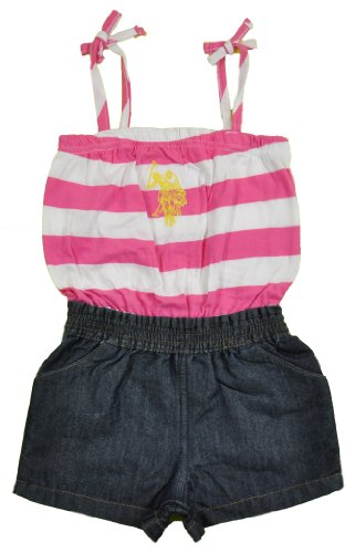 Image of U.S. Polo Assn. Us Polo Assn Toddler Girls Pink Striped Printed Romper Size (4t)