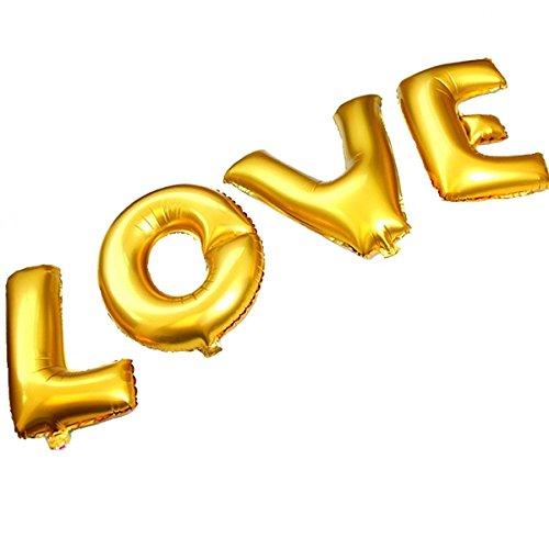 B-G Alphabet balloons 16 INCH Golden LOVE Balloon Set, Romantic Wedding, Bridal Shower, Anniversary,Vow Renewal, Engagement Party, Birthday Décor (Cute Halloween Pic)