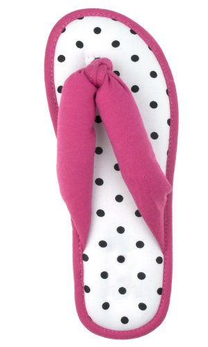 Image of Capelli New York Jersey Thong With Polka Dot Sock Ladies Indoor Slippers (B00405510U)