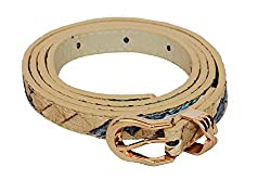 SRI Womens Causal Textured Waist Belt - Beige Blue